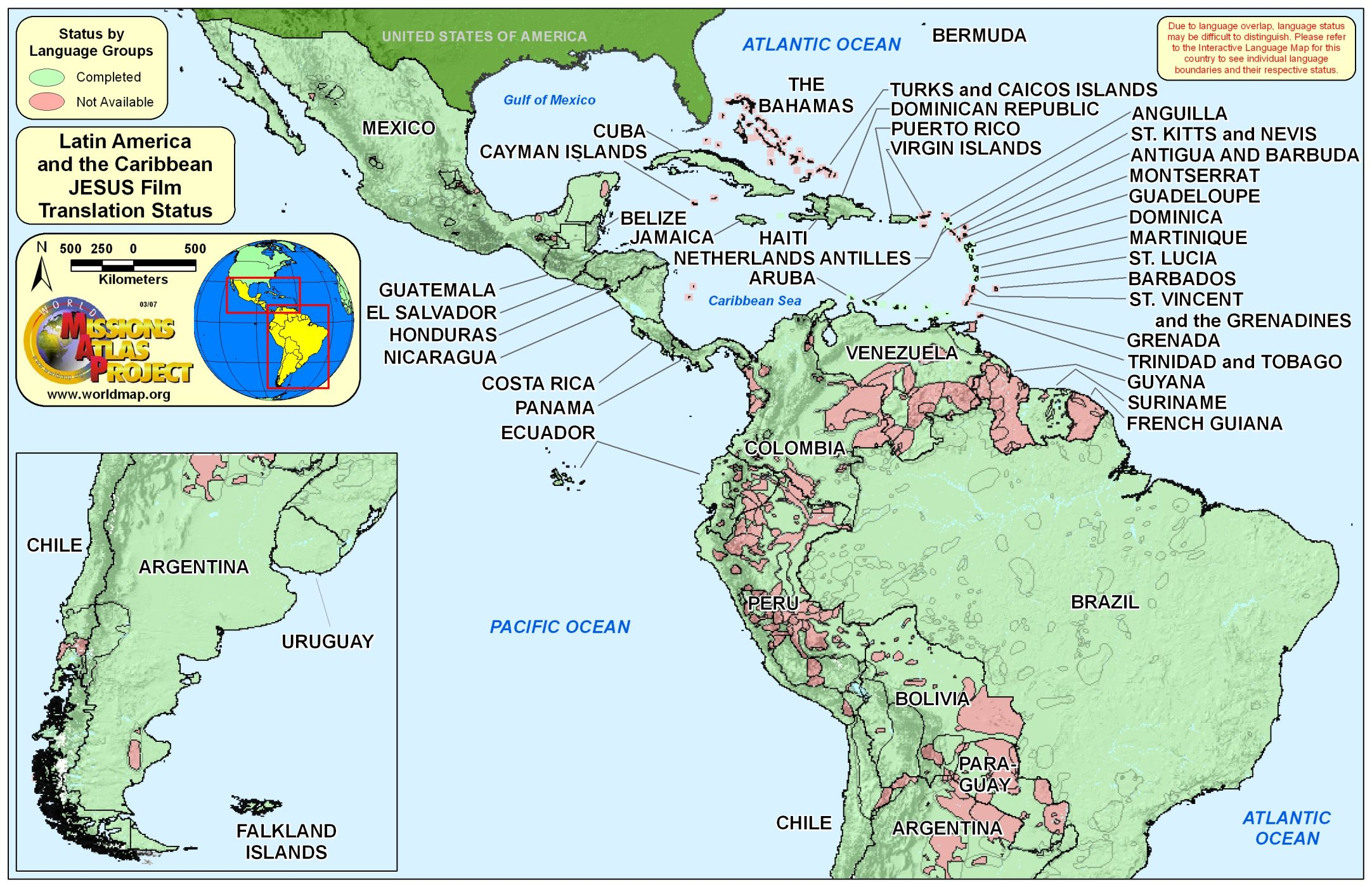 world map latin america and caribbean