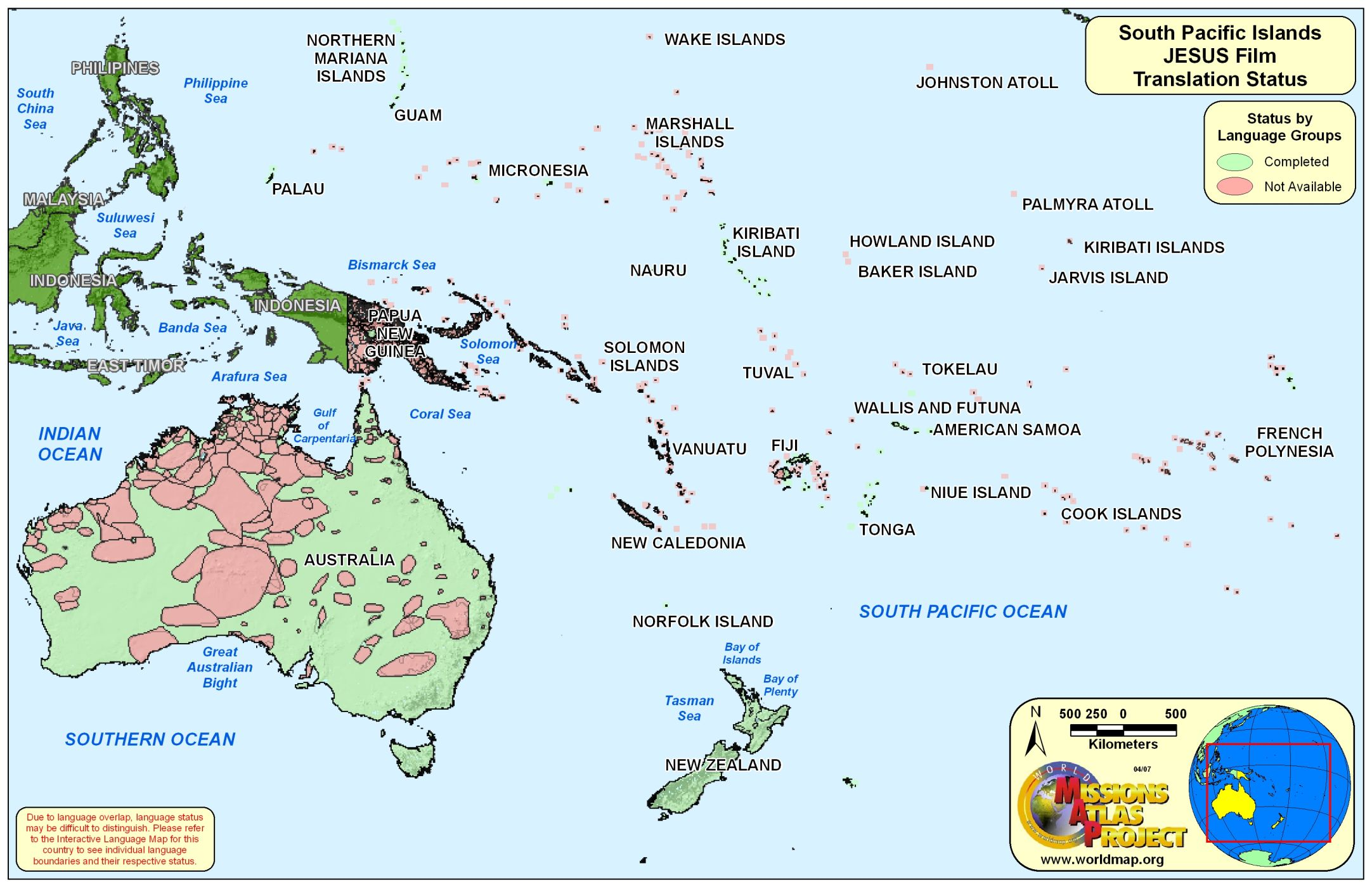 the . world map  south pacific islands